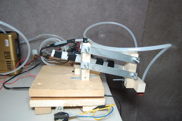 arduino powered cd robot - front view facing left