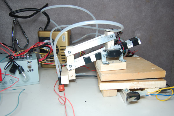 arduino powered cd robot - front view facing right